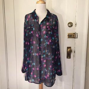 Lane Bryant polkadot semi sheer blouse 18/20